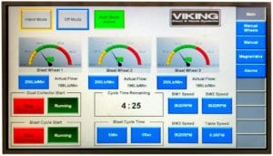 control panel that controls all the functions of the peening process